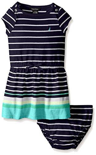 Nautica Baby Engineer Stripe Boat Neck Dress, Aqua Green, 18 Months