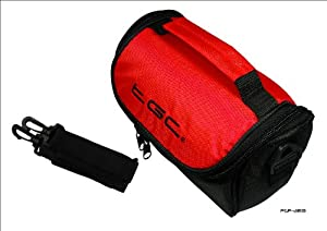 Crimson Red & Black Carry Case Bag for JVC Full HD Everio GZ-E205REK Camcorder