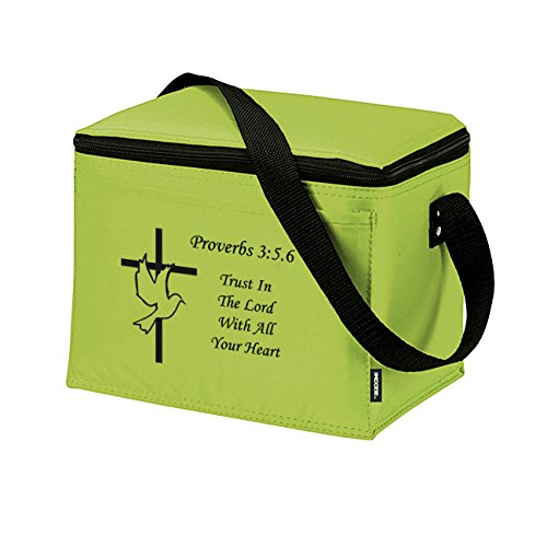 Proverbs 3:5 Trust In The Lord Insulated Lunch Bag - Christian Cross & Dove Bible Verse Church Office School Travel Cooler Tote - Lime Black - 1