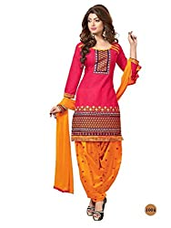 RADHE STUDIO Peach and Yellow Color Cotton Embroidered Salwar Suit With Cotton Bottom And Chiffon Dupatta