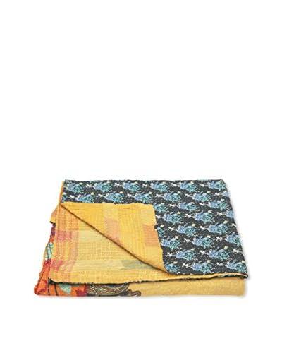 Kantha Bengali Printed Quilted Throw