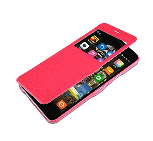 Nillkin Fresh Premium Leather Smart Window Magnetic Flip Case Cover For Cyanogen Mod MICROMAX YU YUREKA - Red