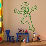 Iconic Stickers - Luigi Nintendo Character Wall Sticker / Boys Mural Mario Design Kids Stencil K16 - As Pictured - Size: Large - Colour: Dark Green