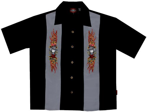 Skull Flames Dice Tatoo Biker Shirt, Rockabilly, Dragonfly (XL)
