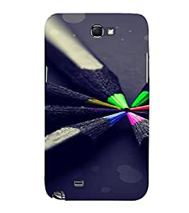 PrintVisa Colorful Pencil Design 3D Hard Polycarbonate Designer Back Case Cover for Samsung Galaxy Note 2