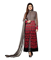 GoGalaxy Fashion Woman's Party Wear Embroideried Grey Long Dress at Low Price