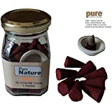Pure Source India High Quality Scented (ROSE) Incense Dhoop Cone 40 Pcs And One Ceramic Cute Stand ,packed In Squire Shape Good Quality Glass Jar , (Rose)