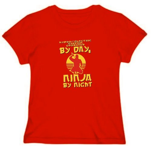 Hydro-Electric Station Operator By Day, Ninja By Night Berufe Frauen T-Shirt (Rot, Größe Large)