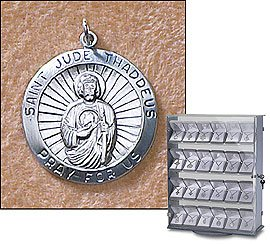 Sterling Silver St. Jude Medal (Pendant-Charm) Patron Saint with 18