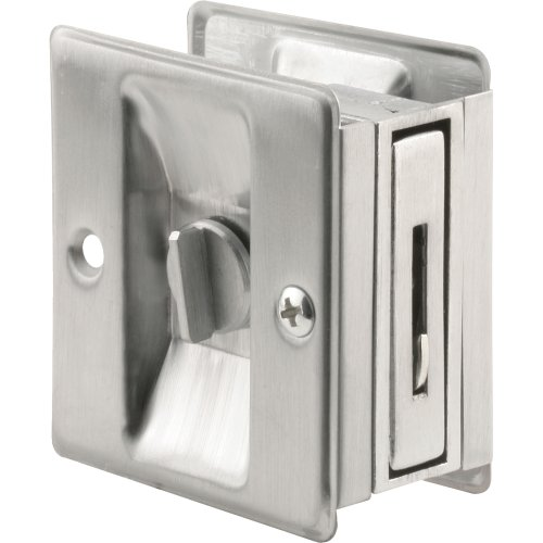 Prime-Line Products N 7161 Pocket Door Privacy Lock with Pull, Satin Chrome (Chrome Pocket Door Lock compare prices)
