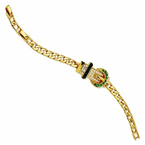 Gold-plated Swarovski Crystal Green Buckle 7In with 1In extension Bracelet