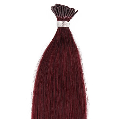 "Beauty7 100S 0.5G/S Pre Bonded Stick I Tip Real Remy Human Hair Extensions 18"" 20"" 22"" 24"" #99J Red Plum (18"") front-856253"