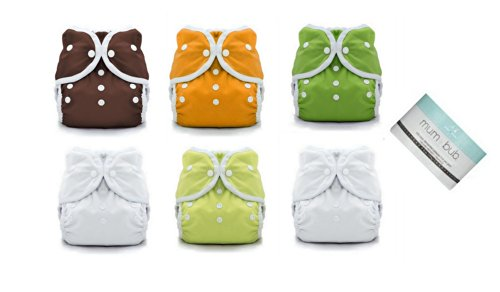 6 Duo Wrap Snaps Diaper Covers Gender Neutral Solid Colors-Sz 1