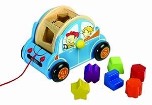 auto mit 6 geometrischen formen in 6 farben aus holz schiebefahrzeug ma e 21 5 x 15 x 14 cm. Black Bedroom Furniture Sets. Home Design Ideas