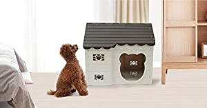 Alpha Dog Series Medium-Sized Indoor Plastic Doghouse (Brown) (Color: Brown)