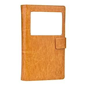 J Corbett Series Cover Leather Pouch Flip Case For Micromax Canvas 5 Lite Special Edition Light Brown
