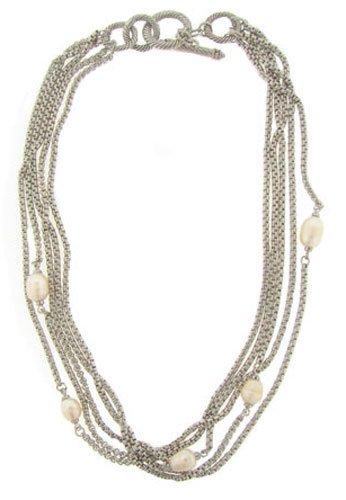 Designer Inspired Multi Chain Pearl Toggle Necklace