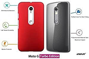 For Moto G Turbo Edition[COMBO OFFER]: Unistuff™ Matte Finish Hard Case Back Cover for Moto G Turbo Edition [SLIM FIT][FREE SHIPPING] (Red, Transparent)