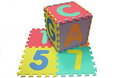 86 Teile ABC & Zahlen Spielteppich Bodenmatte Spielmatte Puzzlematte Kinderzimmerteppich EVA-Schaumstoff