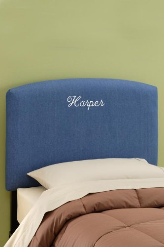 Custom Jude Upholstered Headboard Queen Monogram Denim Blue Cvdfyhjlohksdts