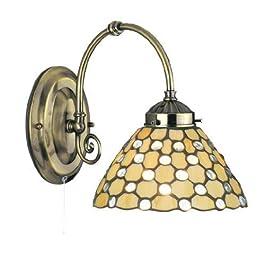 Searchlight Applique Tiffany a luce singola in ottone anticato