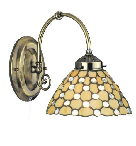 Searchlight Applique Tiffany a luce singola in ottone anticato