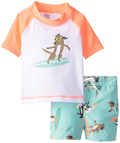 Carters baby boys surf dog 2 pc rash guard swim trunks for Baby rash guard shirt
