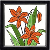 DAY LILY TILE, DAY LILY WALL PLAQUE, DAY LILY TRIVET by Besheer Art Tile, Bedford, New Hampshire, U.S.A.
