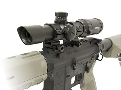 """Sniper Tactical Scope 1-4x28 5"""" Eye Relief with Cantilever mount and Etched Chevron Glass reticle"""