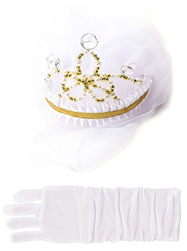 Little Adventures Bride Wedding Veil & White Glove Set for Girls - One-Size (3+ Yrs)