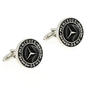 Mercedes Benz Automotive Car Logo Cufflinks Black Cuff Links from Fantasyard