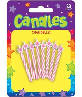 Amscan Fab Star-Tipped Spiral Birthday Candles, Light Pink, 2.5""