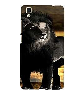 PrintVisa Black Lion Animal Design 3D Hard Polycarbonate Designer Back Case Cover for VivoV3