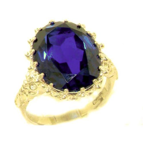 Luxury Solid 14K Yellow Gold Large 16x12mm Oval 11ct Synthetic Blue Sapphire Ring - Size 9.25 - Finger Sizes 5 to 12 Available - Perfect Gift for Birthday, Christmas, Valentines Day, Mothers Day, Mom, Mother, Grandmother, Daughter, Graduation, Bridesmaid.