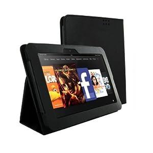 Kindle Fire HD 対応 PUレザーケース スタンド機能付 手帳タイプ Black