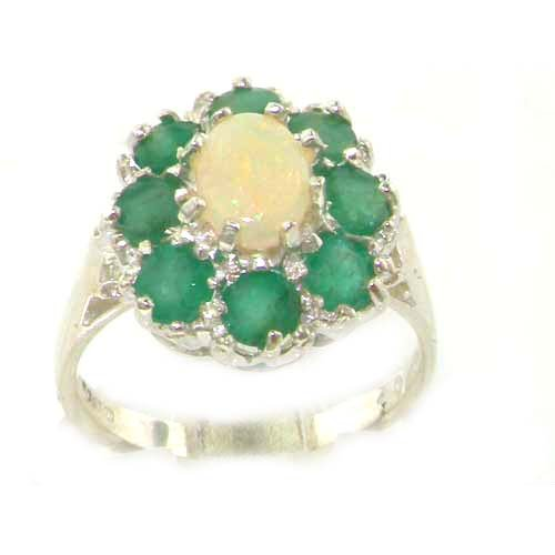 Luxury Ladies Solid Sterling Silver Natural Opal & Emerald Large Cluster Ring - Size 12 - Finger Sizes 5 to 12 Available - Suitable as an Anniversary ring, Engagement ring, Eternity ring, or Promise ring