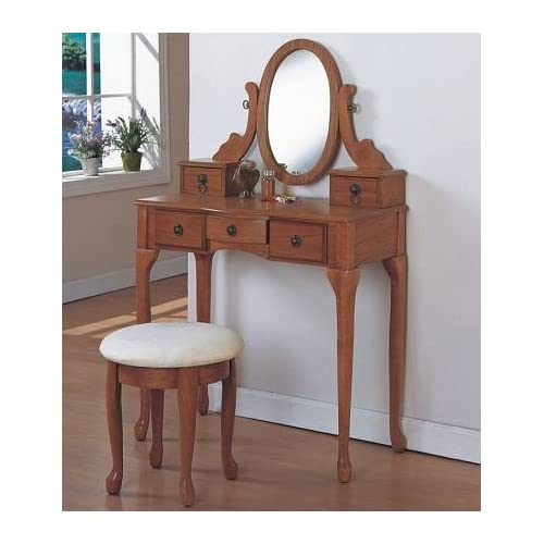 All New Item 3 Pc Oak Wood Finish Bedroom Vanity Set With Stool