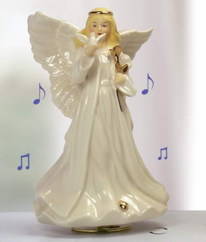 Sympathy Angel Revolving Music Box - Porcelain Angel Figurine Holding a Dove and Gold Rose - Plays Music: The Wind Beneath My Wings - Gift Boxed with Message - Miscarriage Condolence Memorial - 8 Inch High