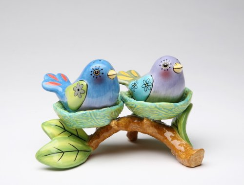 Appletree Design Flights of Fancy Bird Nest Salt and Pepper Set and Tealight Holder, 5-1/8 by 3-3/8-Inch