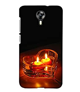 PrintHaat Designer Back Case Cover for Micromax Canvas Nitro 4G E371 (love :: lovely candles in heart shape bowl :: romantic candle wallpaper :: lovely design :: lovable :: in black, yellow and orange)
