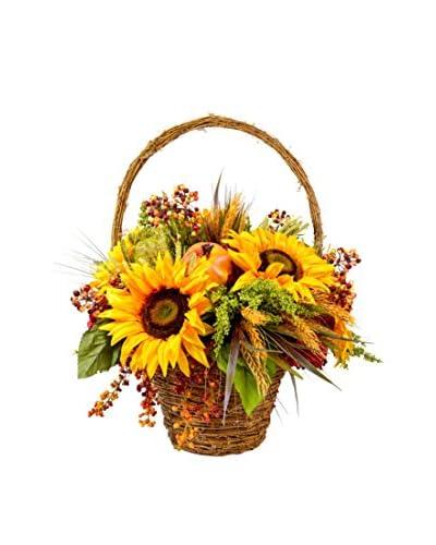 Creative Displays Sunflower, Pomegranate & Berry Basket, Orange/Red/Yellow/Green/Brown