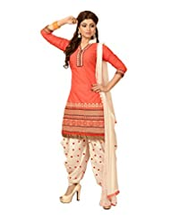 Leranath Fashion House Womens Cotton Salwar Suit (MK019_Cream/Orange_Free Size)