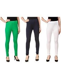 Svadhaa White Green Navy Blue Cotton Lycra Leggings(Pack Of 3)