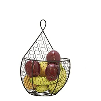 Useful UH-WB23 Triple Hanging Display Storage Baskets - Trio of Wall Mount Baskets 1 Large 2 Small Wall Hanging Units for Flowers, Fruits and Veggies, Decorations, and More