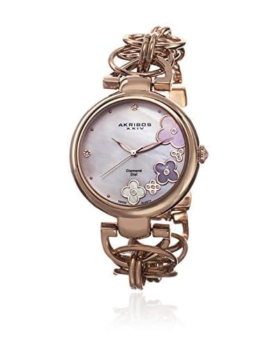 Akribos Xxiv Watch Women'S Twist Chain Quartz Genuine Diamond Dial Watch Oro Rosa