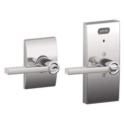 Schlage Fe51 Lat 625 Cen Built-In Alarm, Century Collection Latitude Keyed Entry Lever Door Lock, Bright Chrome