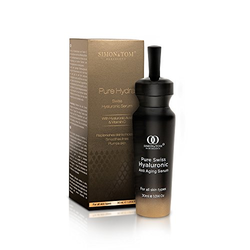 Simon & Tom, Siero acido ialuronico e vitamina C . Per viso, collo e décolleté. Pelle idratata, giovane, luminosa e distesa. Antirughe e anti-aging. Gamma Pure Hydra, Swiss Hyaluronic Serum. 30ml