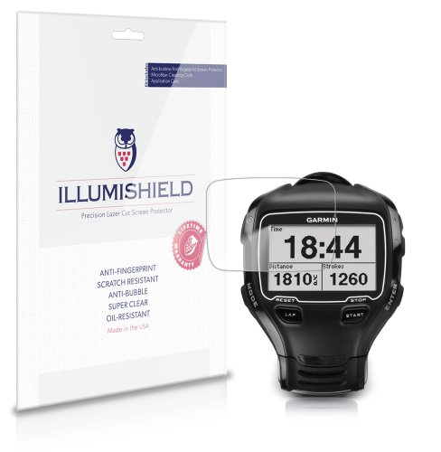 iLLumiShield - Garmin Forerunner 910XT Screen Protector Ultra Clear HD Film with Anti-Bubble and Anti-Fingerprint - High Quality Invisible LCD Shield - Lifetime Replacement Warranty - [3-Pack]