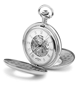 Rotary Pocket Watch MP00712/01 Chrome Plated Half Hunter