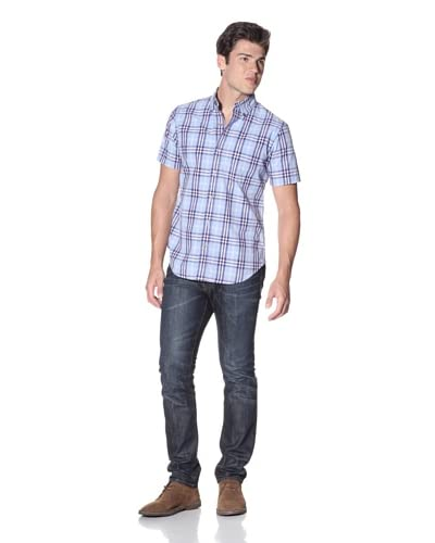 Relwen Men's Half-Sleeve Camp Plaids Shirt  [Light Blue/Purple District Plaid]